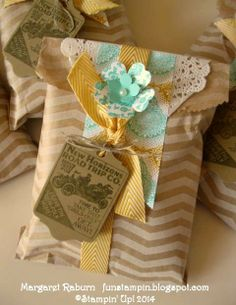 Fun Stampin' with Margaret!  Chevron Tag a Bag Gift Bags, Shop Around Wheel, Chalk Talk Framelit, Crushed Curry Ribbon, Eastern Elegance DSP, Tea Lace Doilies