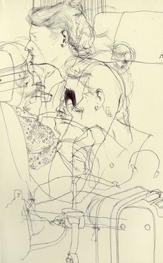 Kenichi Hoshine, Sketch on train from Montpellier, France to Barcelona, Spain - Ballpoint pen on paper, 2010