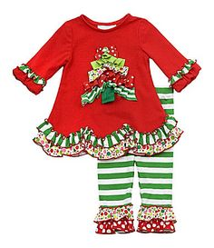 Rare Editions Infant MixedPrint Christmas Tree Top and Leggings Set