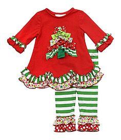 Rare Editions Infant MixedPrint Christmas Tree Top and Leggings Set