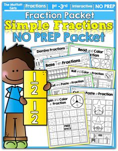 Teaching Simple Fractions! This hands-on, FUN and effective NO PREP packet will make learning fractions a breeze! Throw dice, color, cut paste and so much more! #TPT
