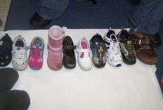Here, children have sorted their shoes by size.