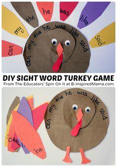 DIY Sight Word Turkey Game - #kids #homeschool #learning #sightwords #kbn #binspiredmama