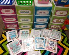 monthly center storage drawers...love this idea!!!