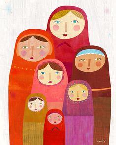 'Matryoshka Dolls' print