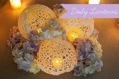 lantern centerpieces, lace, weddings, candles, craft stores, doilies, lanterns, doili lantern, tea lights
