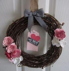 craft, stampin up wreath, paper flowers, spiral flower, flower die