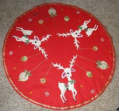 Vintage Christmas Tree Skirt ~ Red Felt w/ White Reindeer, Ornaments Sequins and Gold Trim * Circa, 1950's