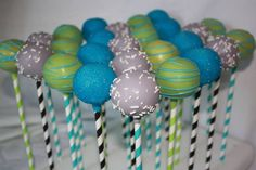 Blue, Green and Gray Cake Pops for a Baby Shower