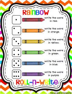 Rainbow Roll-N-Write {Freebie}
