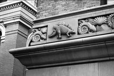 "Will C. Hogg was the original College of Geosciences building. The frieze around its facade has bas-reliefs depicting the history of the earth, including trilobites, dinosaurs, sea urchins and a saber tooth cat, as well as the inscription ""O earth, what changes hast thou seen"" from Alfred Lord Tennyson."