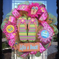 SUMMER SALE/ Life's A Beach Flip Flop Wreath by DzinerDoorz, $79.00