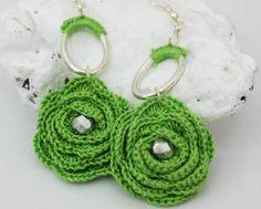 Flower crochet earrings  Long earrings  Crochet by lindapaula, €9.00 Pendientes,aretes,zarcillos de ganchillo.
