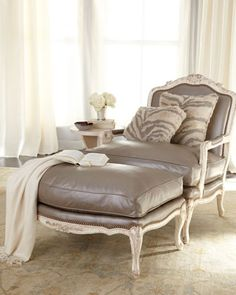 """""""Silver"""" Leather Chair & Ottoman by Old Hickory Tannery at Horchow."""