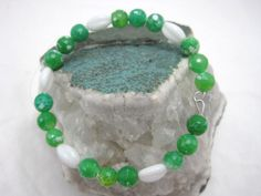 Bright Green Crab Agate Memory Wire Bracelet by GoosesGoldenEggs, $17.00