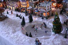 Christmas village via Priscillas mirrors, christma villag, christmas decorations, tour 2012, christmas villages, christma tour, ice skating, paints, pond