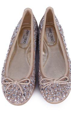 JIMMY CHOO Tan and Silver Crystal Encrusted Ballet Flats