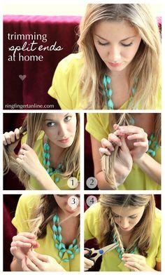 Trim split ends at home