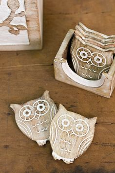 Hand Carved, Whitewashed Owl Coasters - Set of 6.