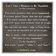 ... be thankful