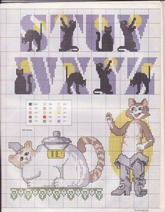 crossstitch, alphabet cross stitch pattern, black cats, cat alphabet, cross stitch alphabet cat, cross stitch patterns, cross stitches