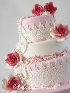 lace cakes, beauti cake, rose cake