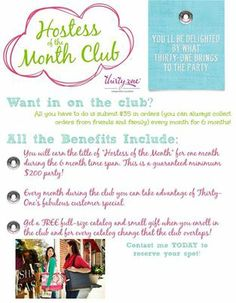 Hostess of the month club!