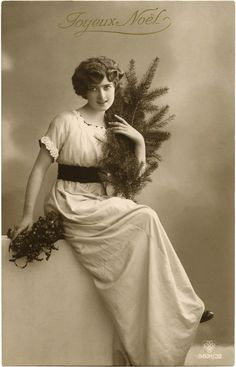 Vintage Christmas Lady Photo