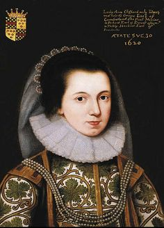 """dated 1620. Lady Anne Clifford """"age 30"""" (b.1590 d.1676) daughter of George Clifford"""