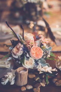 garden rose centerpiece, photo by Kivalo Photography http://ruffledblog.com/1st-portland-notwedding #weddingcenterpiece #centerpieces
