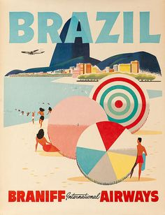 David Pollack Vintage Posters - vintage airline poster for Braniff international airways - Brazil beach