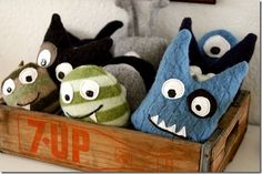 Felt monsters. This is an easy diy party favor for a monster birthday party. Great idea for a little boy or girl party. party favors, party games, monster party, girl parties, adoption party, birthday parties, diy felt monsters, monster softies, themed parties