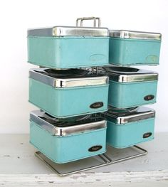 Set of Six Vintage Aqua and Chrome Kitchen Canisters