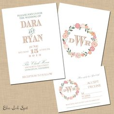 Flowers and Cigars Wedding Invitation Suite by blueinkspot on Etsy