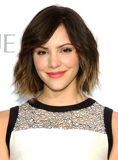 Katharine McPhee Short Ombre Hairstyles 2014 - Layered Bob Cut with Bangs » Cute, maybe with plum ends...