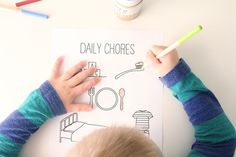 Coloring Chore Chart For Kids