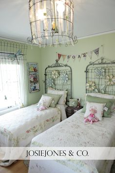 Vintage gate headboards--not crazy about the flowers but the gates are cool