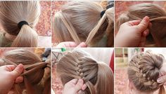 poni tail, french braids, easy updo hairstyles tutorials, braid bun, braid around ponytail, pony tail braid, diy braid