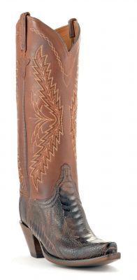 Womens Lucchese Classics Ostrich Leg Boots Chocolate #Gc9760