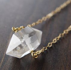 Herkimer Diamond Gold Necklace