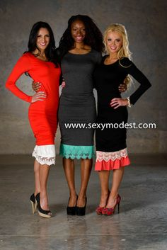 www.SexyModest.com #skirtextender #dressextender #dress #red #charcoal #black #white #turquoise #pink #chic #comfort #classy #spring #springfashion #clothes #fashion #shopping #boutique #modest Follow us on Instagram @modestshoppin