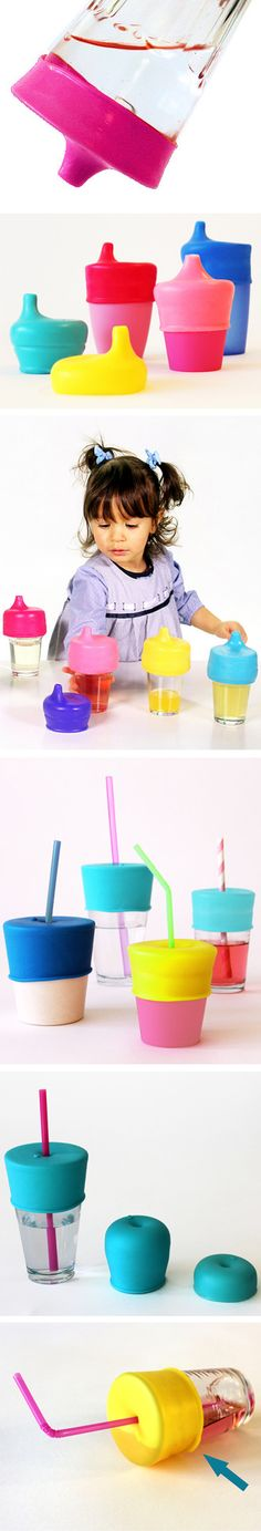 Sip Snap // turn ANY cup or glass into a spill-proof sippy cup with this clever BPA-free silicone product with stainless steel straws! Kid and toddler styles. Perfect for travelling.