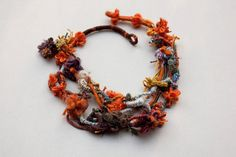 Handmade statement necklace hand wrapped fiber by rRradionica