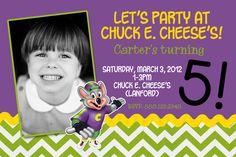 #ChuckECheese #BirthdayInvitations #Photocard