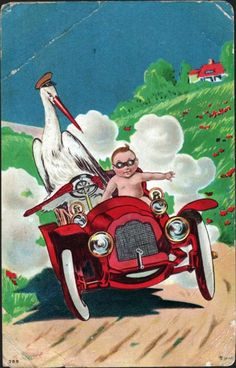 vintage postcard, the baby's on his way