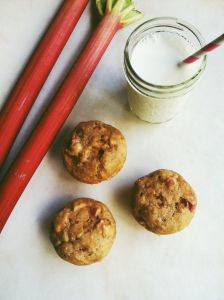 Rhubarb Muffins made with almond milk and coconut oil.