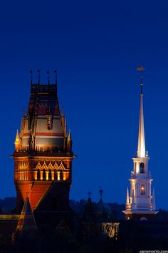 """""""Memorial Hall (1874) with its burned (1956) and rebuilt (1999) tower, erected in honor of Harvard graduates who fought for the Union in the American Civil War, and The Memorial Church of Harvard University (1932) built in honor of the men and women of Harvard University who died in World War I."""""""
