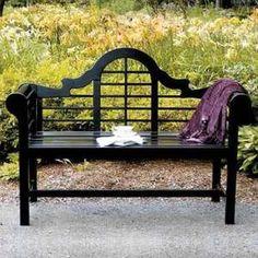 Elegant Black Garden Lutyens Bench