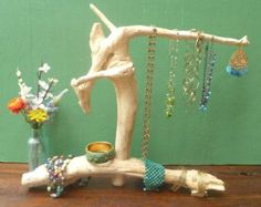 Jewelry Display Holder Stand Driftwood for Art Shows Beach Wood Necklace Stand