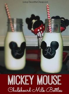 RE-PURPSOE those Starbucks Frapp bottles into VINTAGE Style Milk Bottles! I added a Mickey Mouse chalkboard label for a Disney themed. Super cute. #DIY